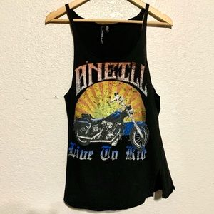 O'Neill Black Motorcycle Graphic Tank Top
